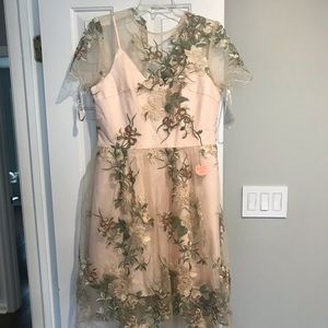 Blush dress with floral illusion detailing